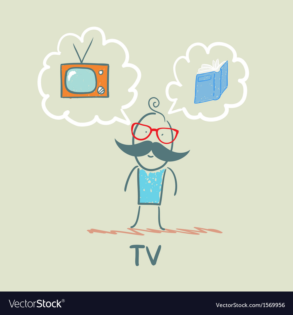 One thinks of the tv and book vector | Price: 1 Credit (USD $1)