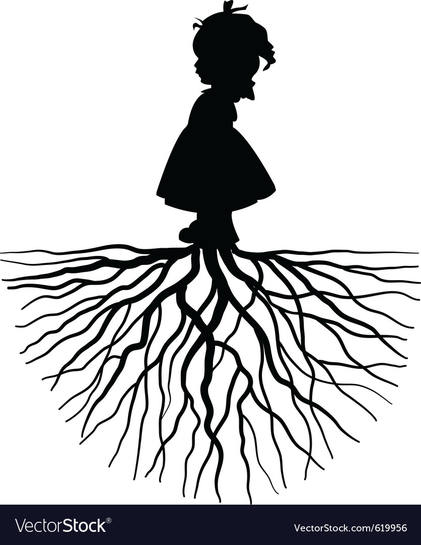 Silhouette of a girl with root vector | Price: 1 Credit (USD $1)