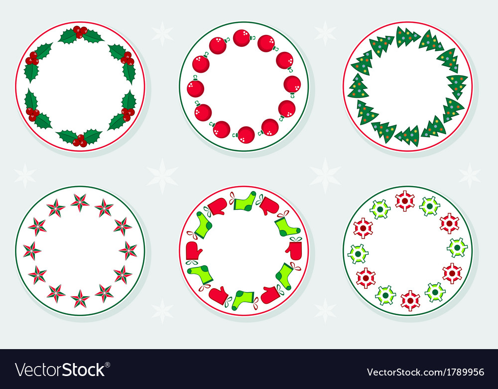 Stickers with christmas wreaths vector