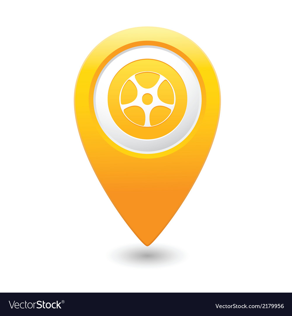 Wheel icon yellow map pointer vector | Price: 1 Credit (USD $1)