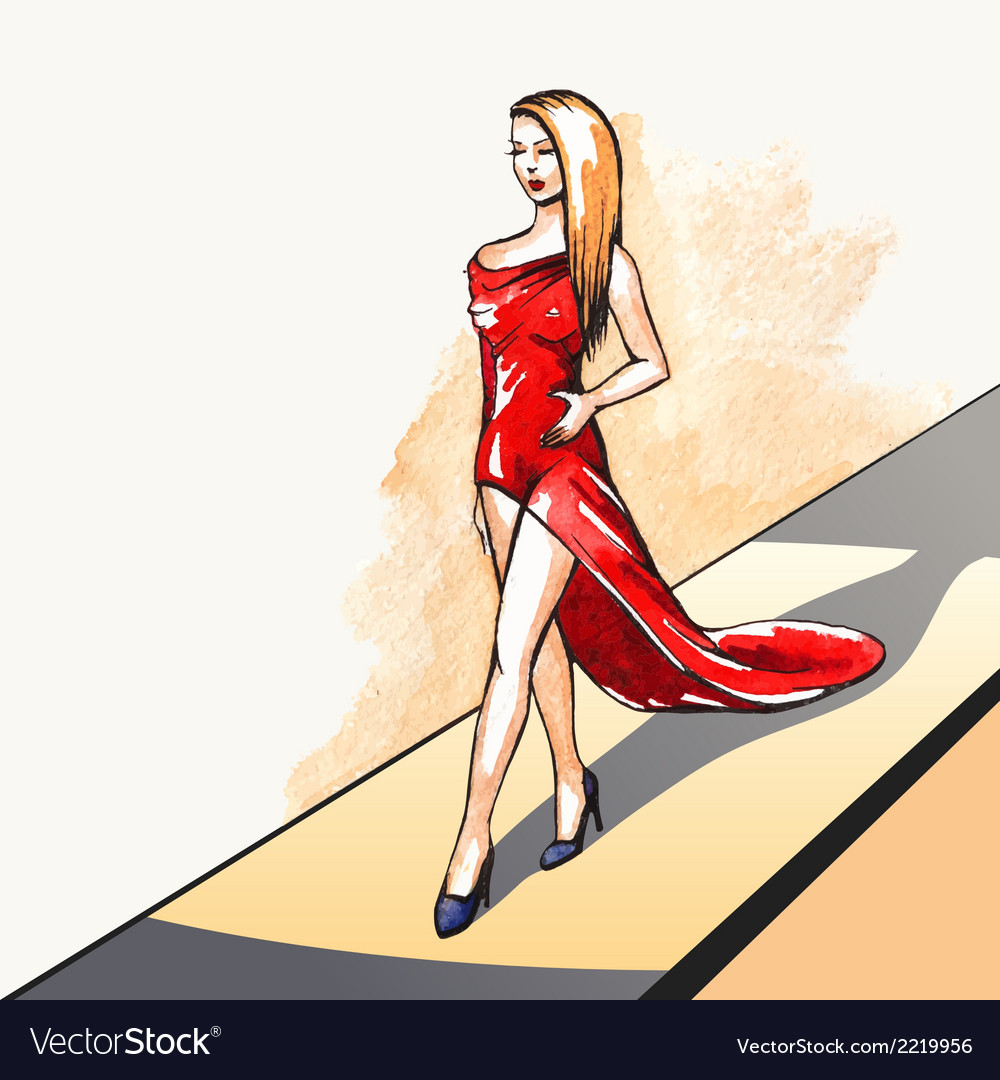 Woman on the runway vector | Price: 1 Credit (USD $1)