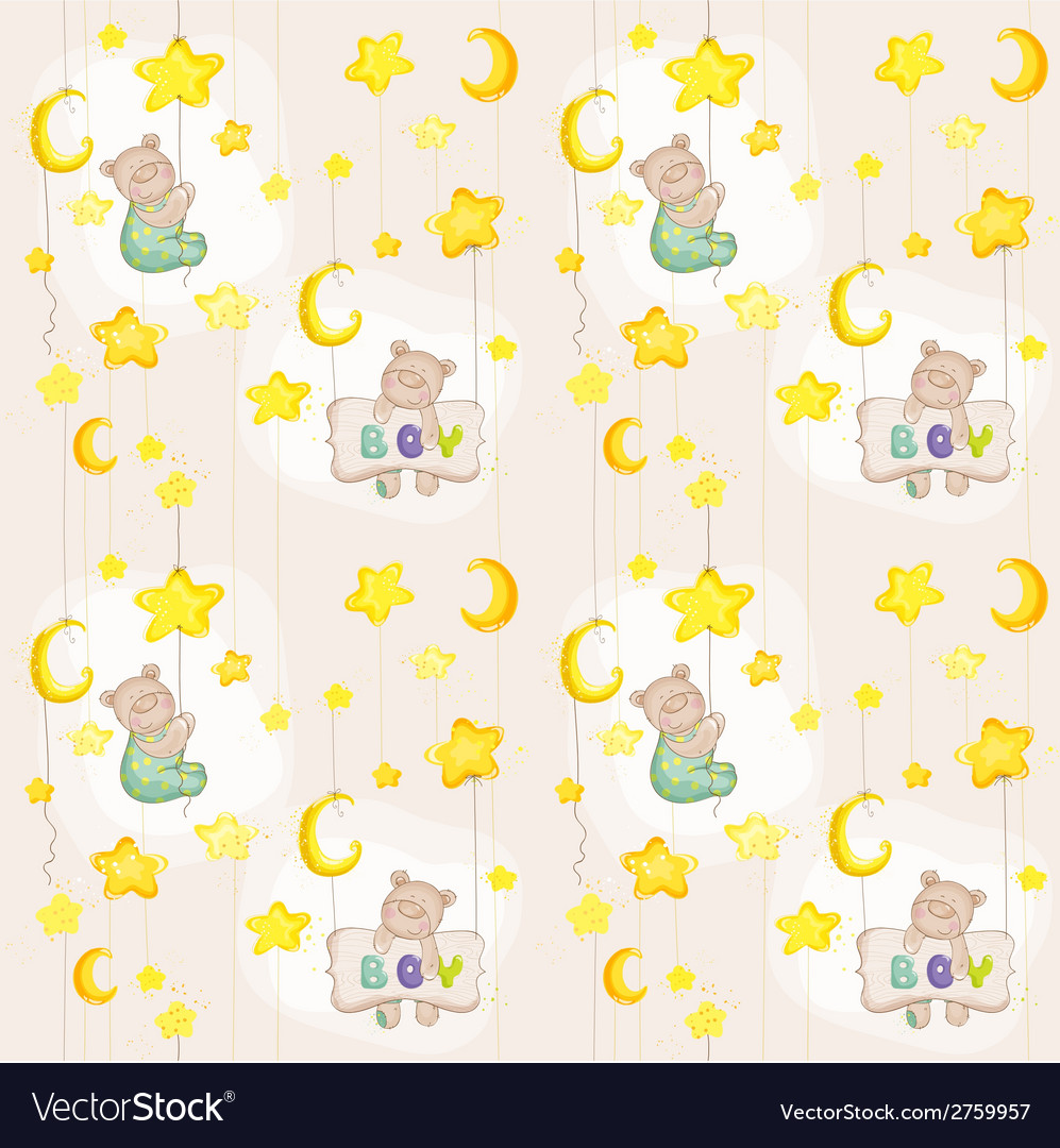 Baby bear seamless pattern vector | Price: 3 Credit (USD $3)