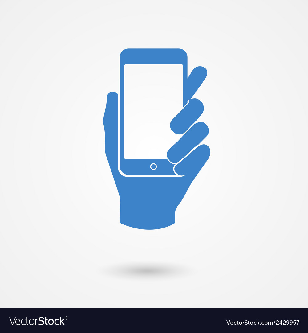 Blue icon with hand holding a smart mobile phone vector | Price: 1 Credit (USD $1)