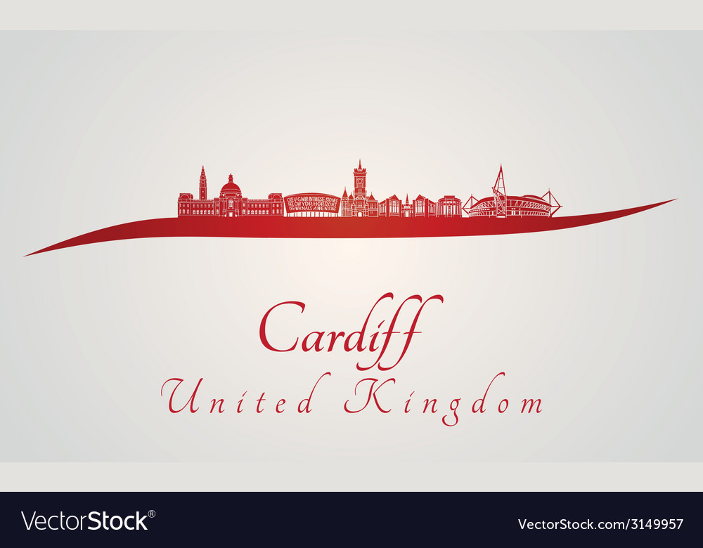 Cardiff skyline in red vector | Price: 1 Credit (USD $1)