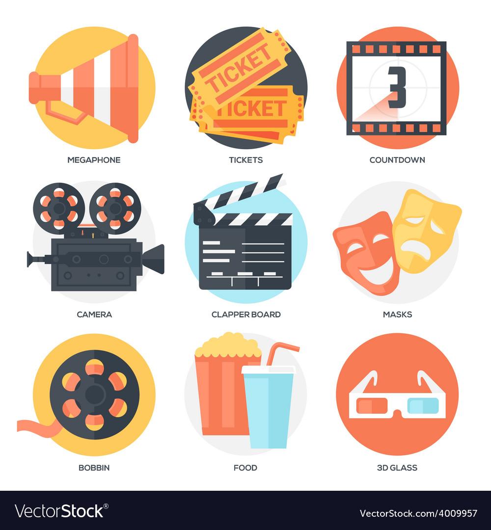 Cinema icons set vector | Price: 1 Credit (USD $1)