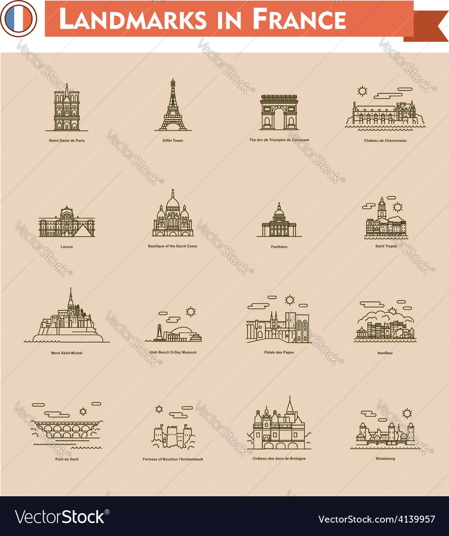 France landmarks icon set vector | Price: 1 Credit (USD $1)