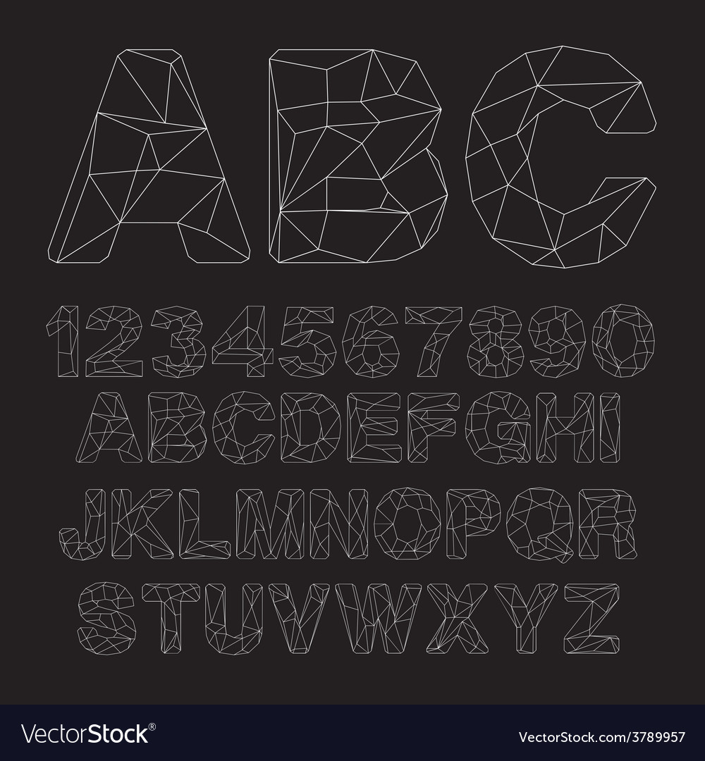 Lowpoly outline font vector | Price: 1 Credit (USD $1)