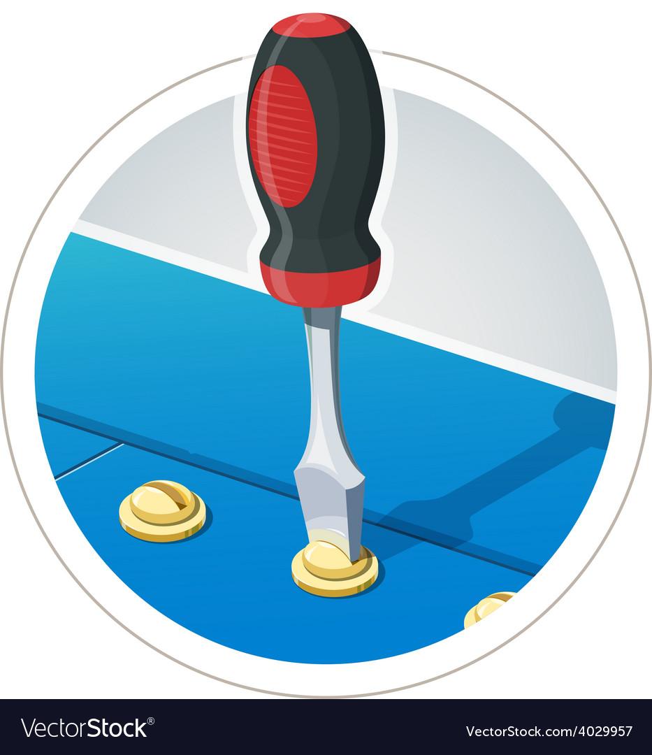 Screwdriver with screw vector | Price: 3 Credit (USD $3)