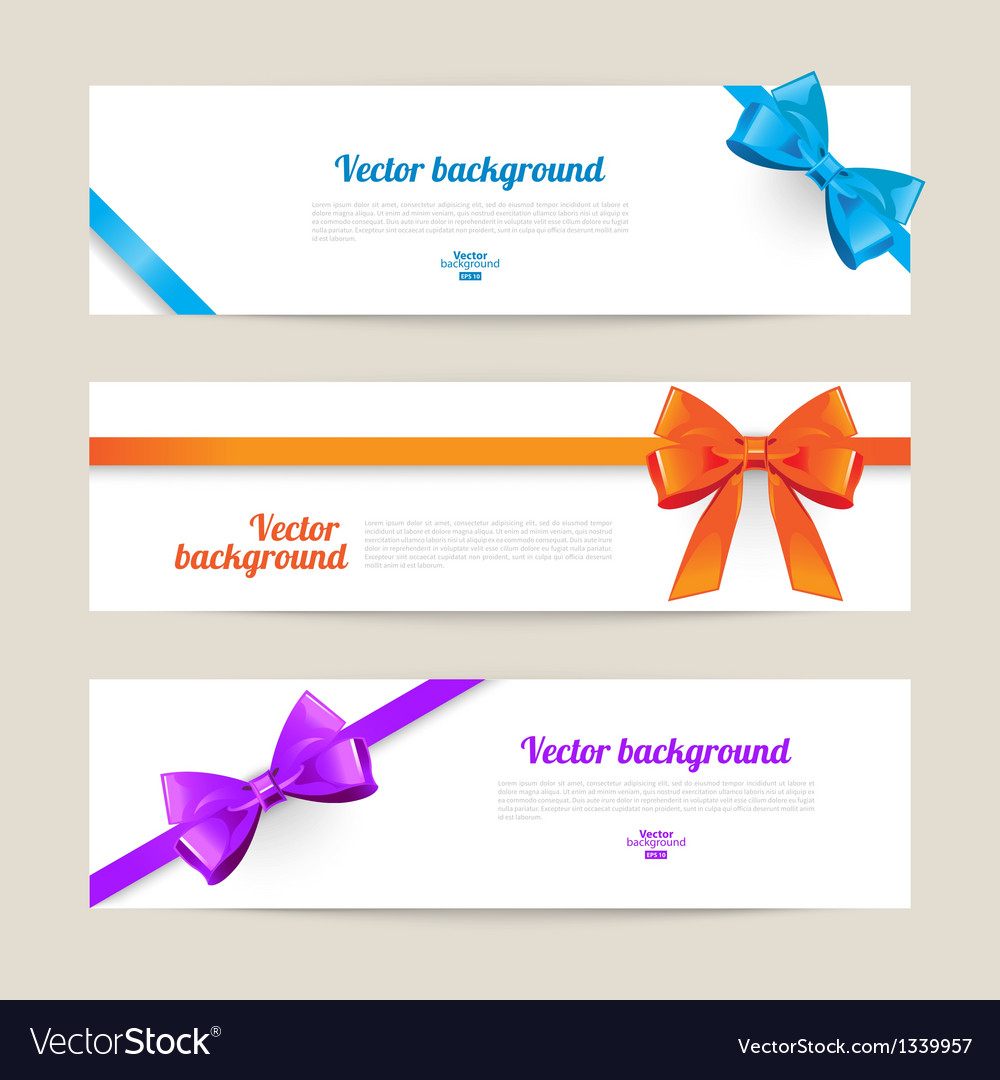 Set of card with gift bows vector | Price: 1 Credit (USD $1)