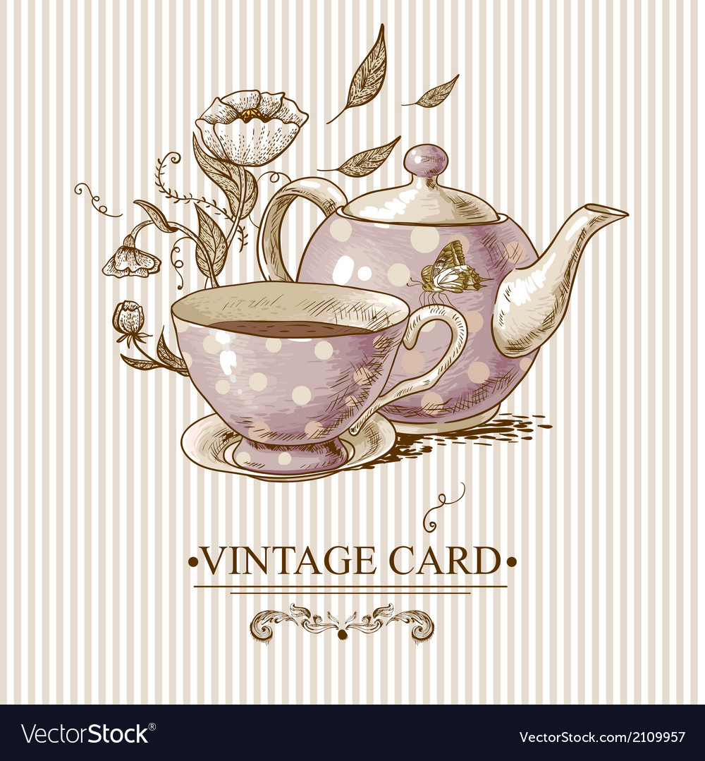 Vintage card with cup pot flowers and butterfly vector | Price: 1 Credit (USD $1)