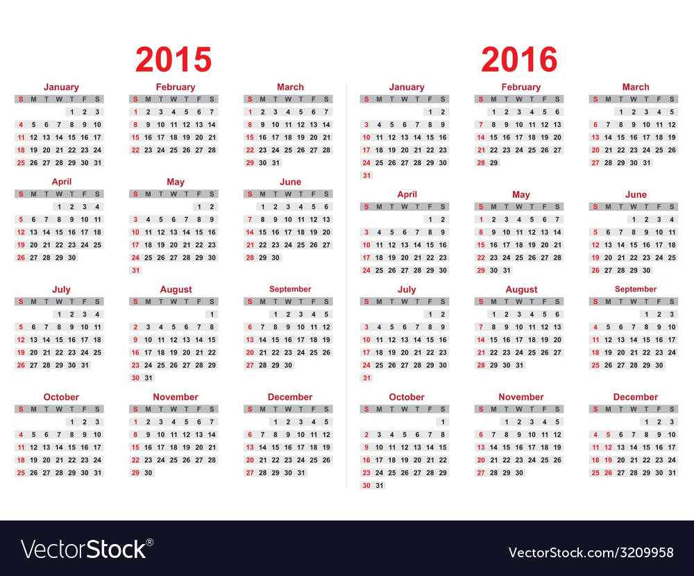 2015 and 2016 years calendar vector | Price: 1 Credit (USD $1)