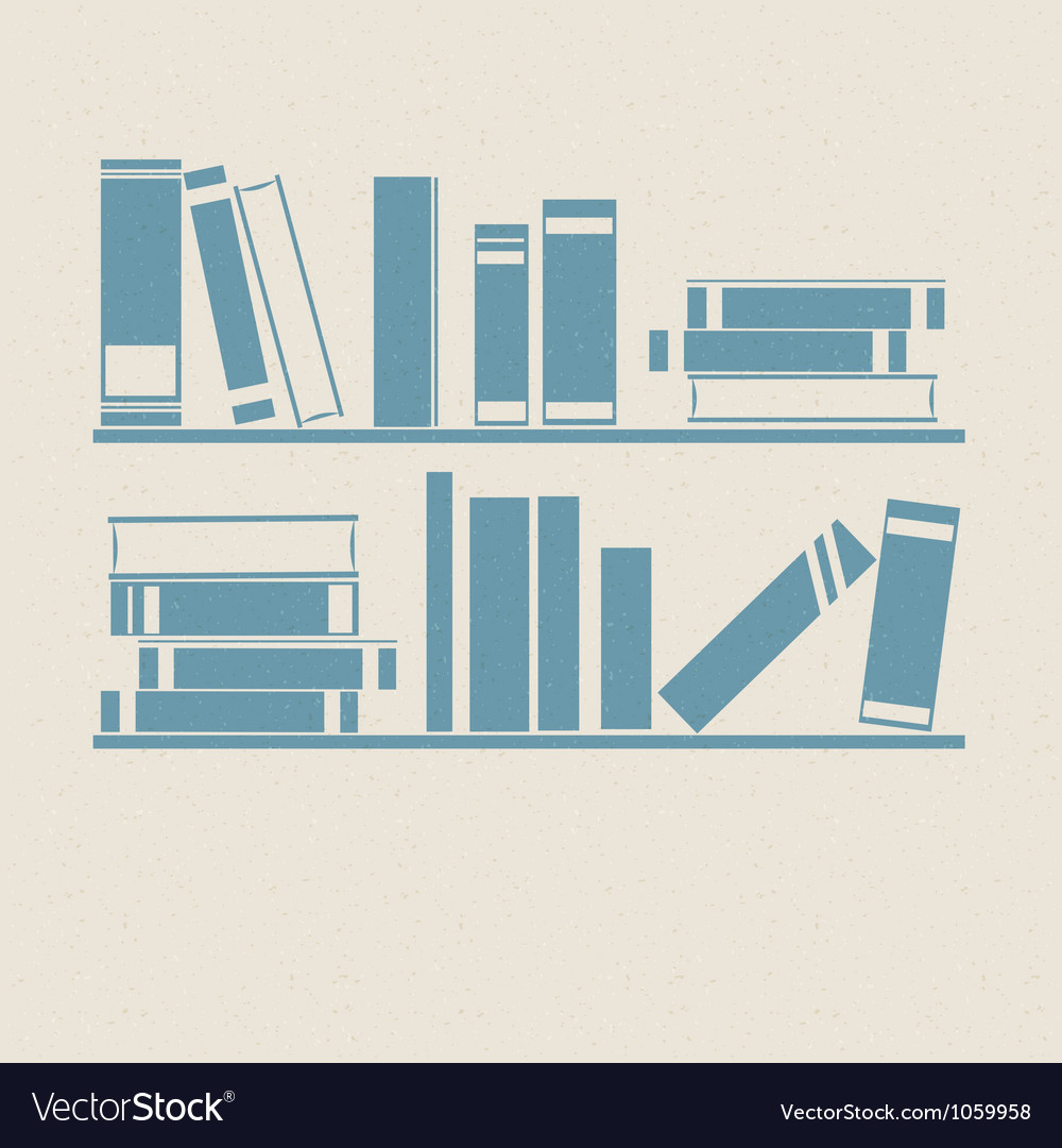 Bookshelf retro vector | Price: 1 Credit (USD $1)