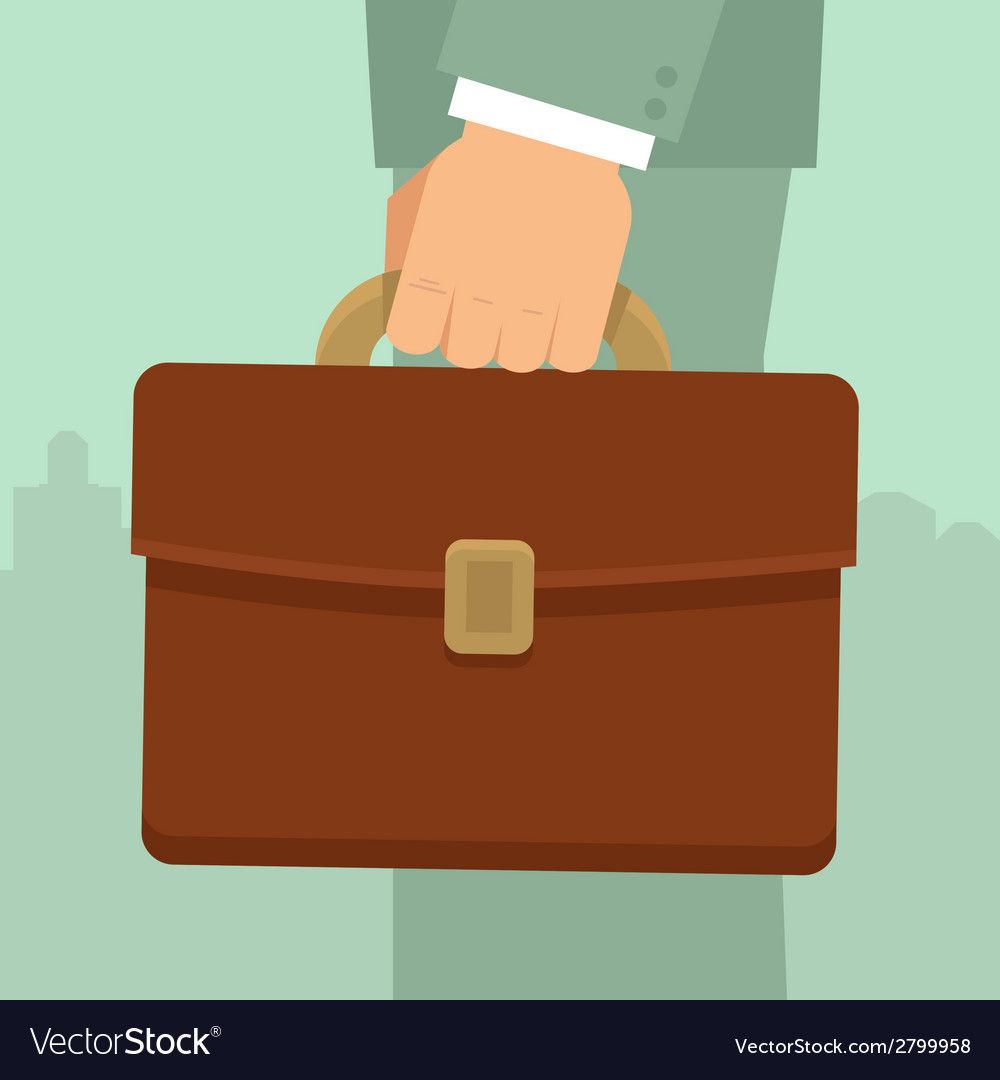 Businessmans hand holding briefcase vector | Price: 1 Credit (USD $1)