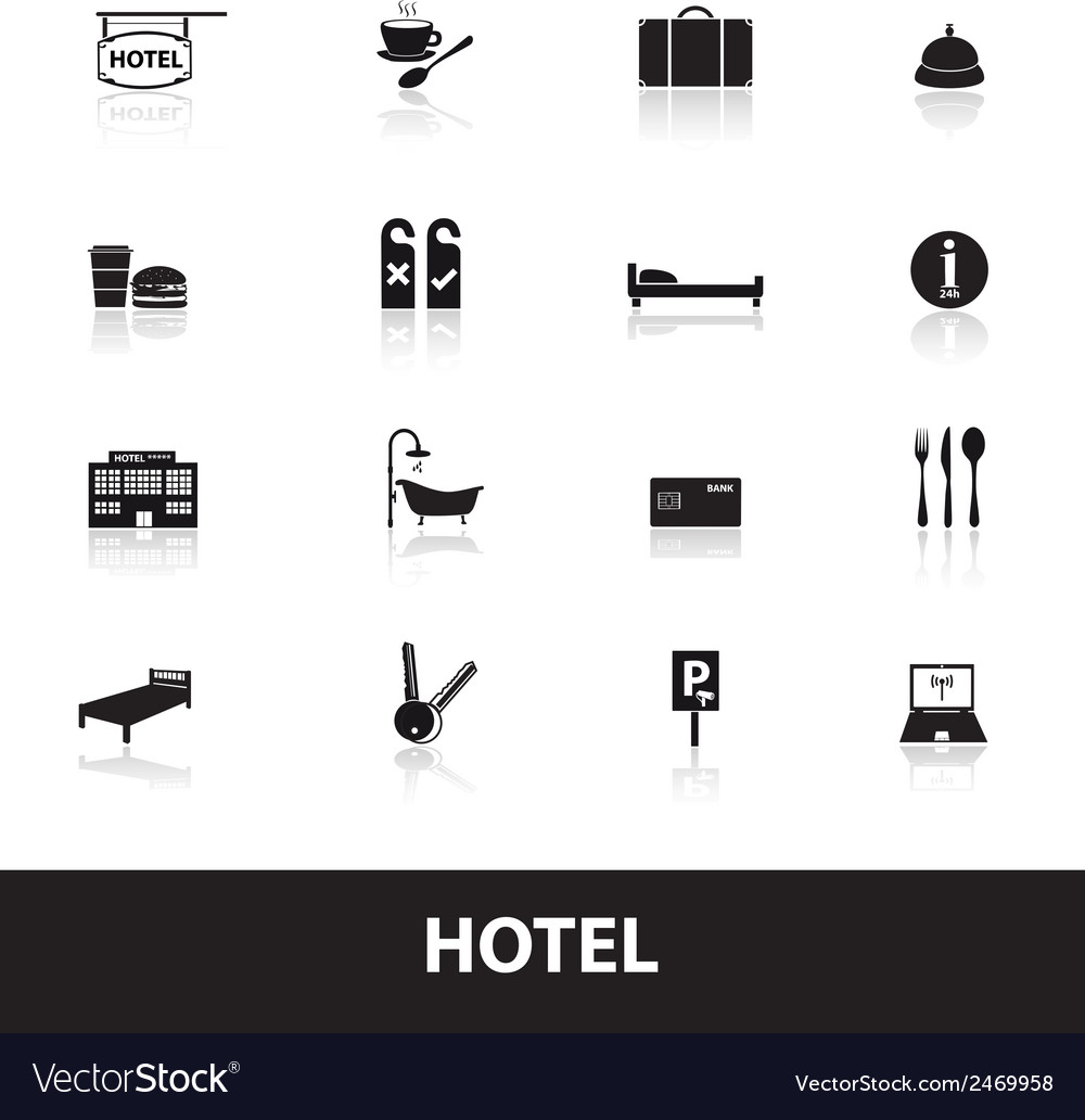 Hotel and motel simple icons eps10 vector | Price: 1 Credit (USD $1)
