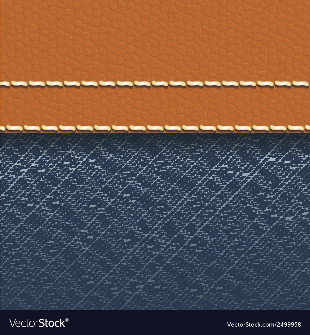 Jeans fabric and leather background vector | Price: 1 Credit (USD $1)