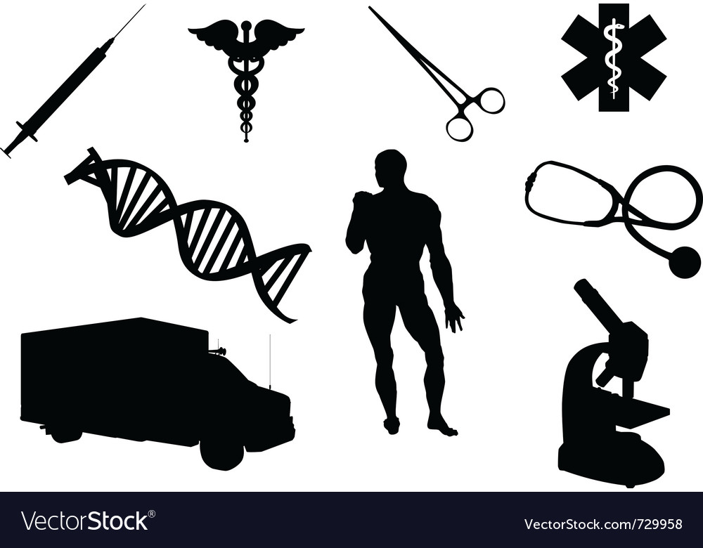 Medical objects silhouettes vector | Price: 1 Credit (USD $1)