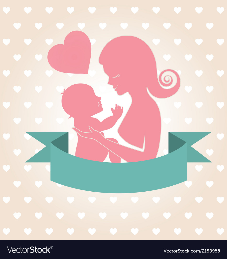 Mother carrying her child on heart background vector | Price: 1 Credit (USD $1)