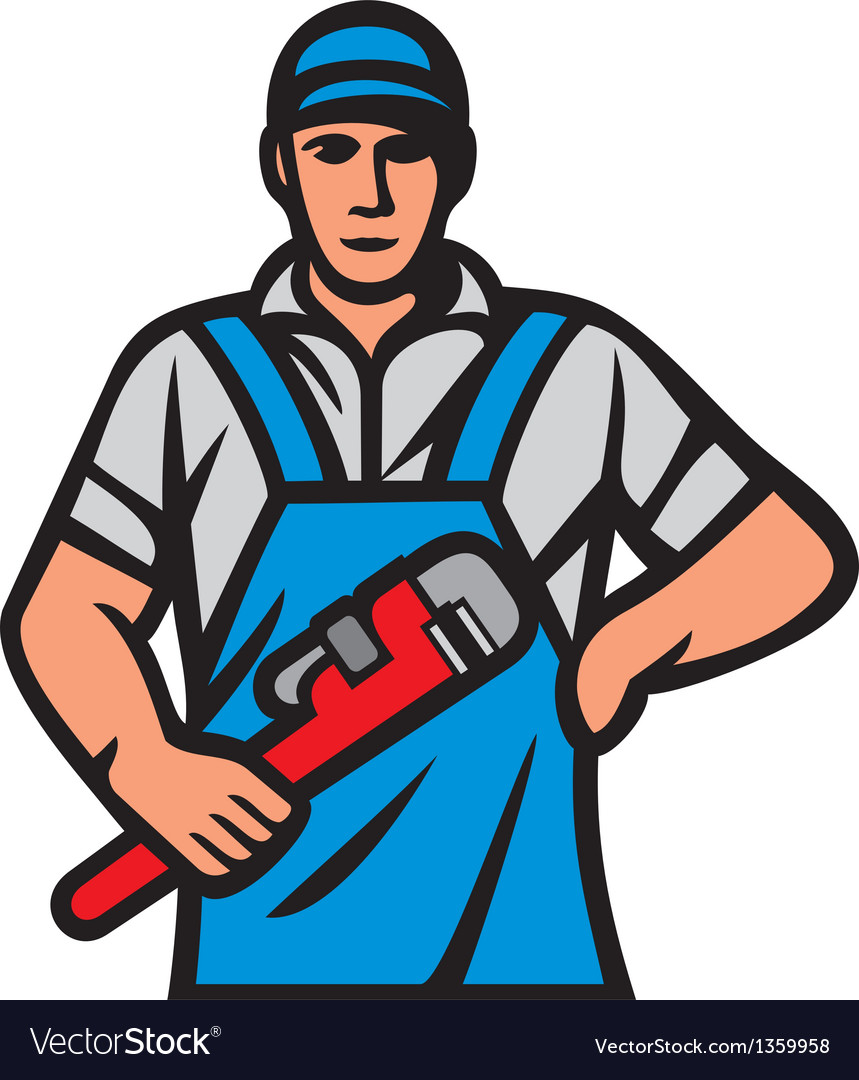 Plumber holding a wrench vector | Price: 1 Credit (USD $1)