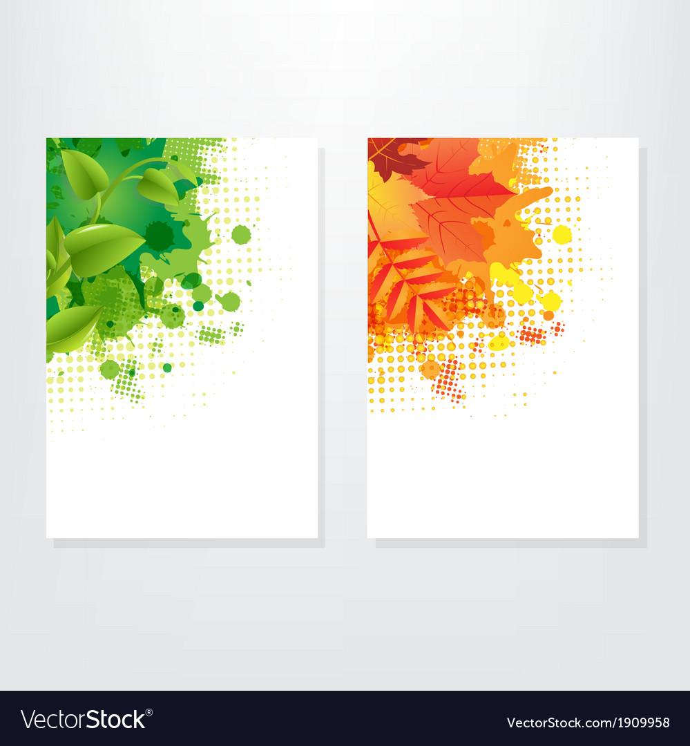 Set card wit leaf vector | Price: 1 Credit (USD $1)