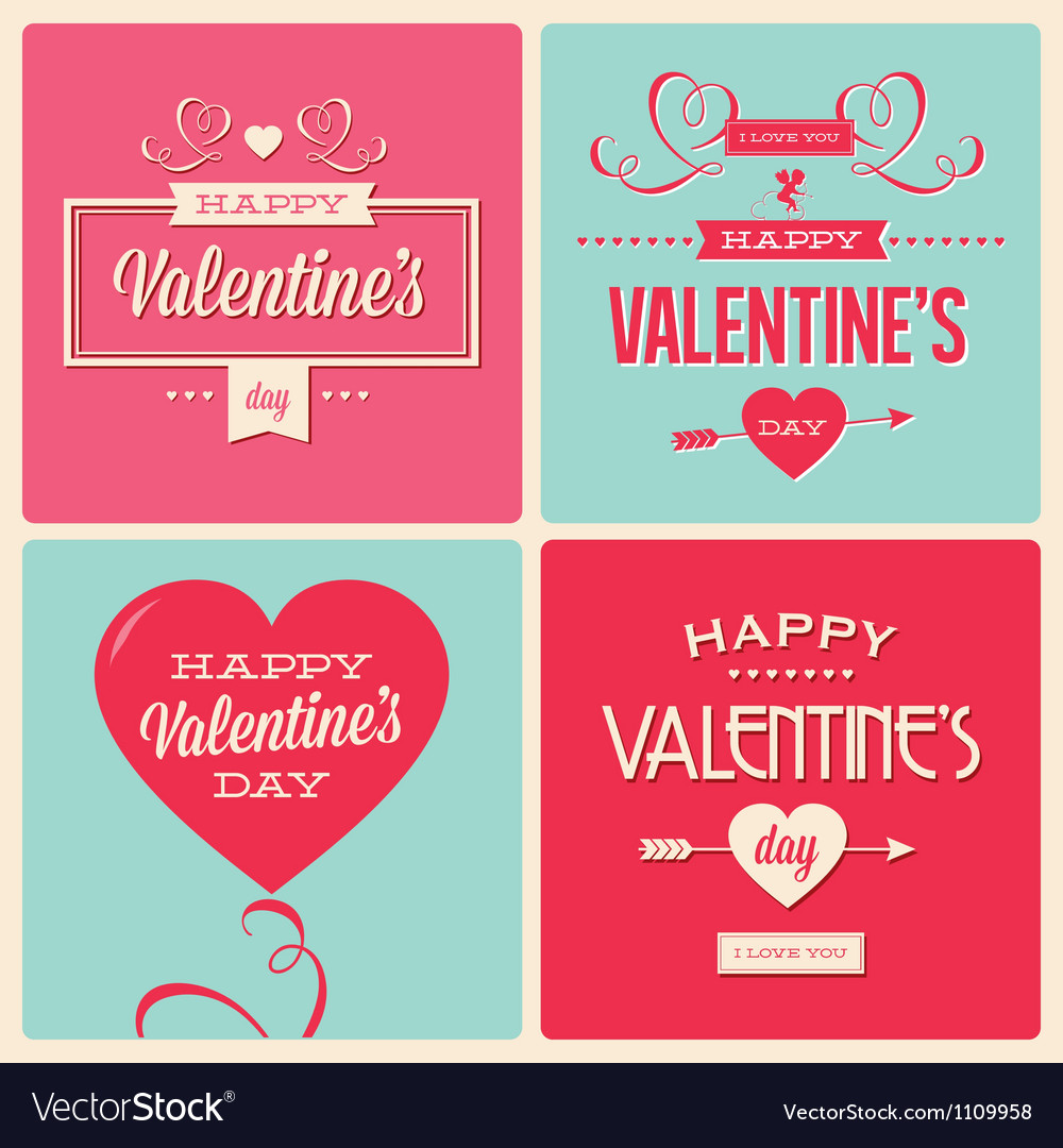 Set of valentines day card design vector | Price: 1 Credit (USD $1)