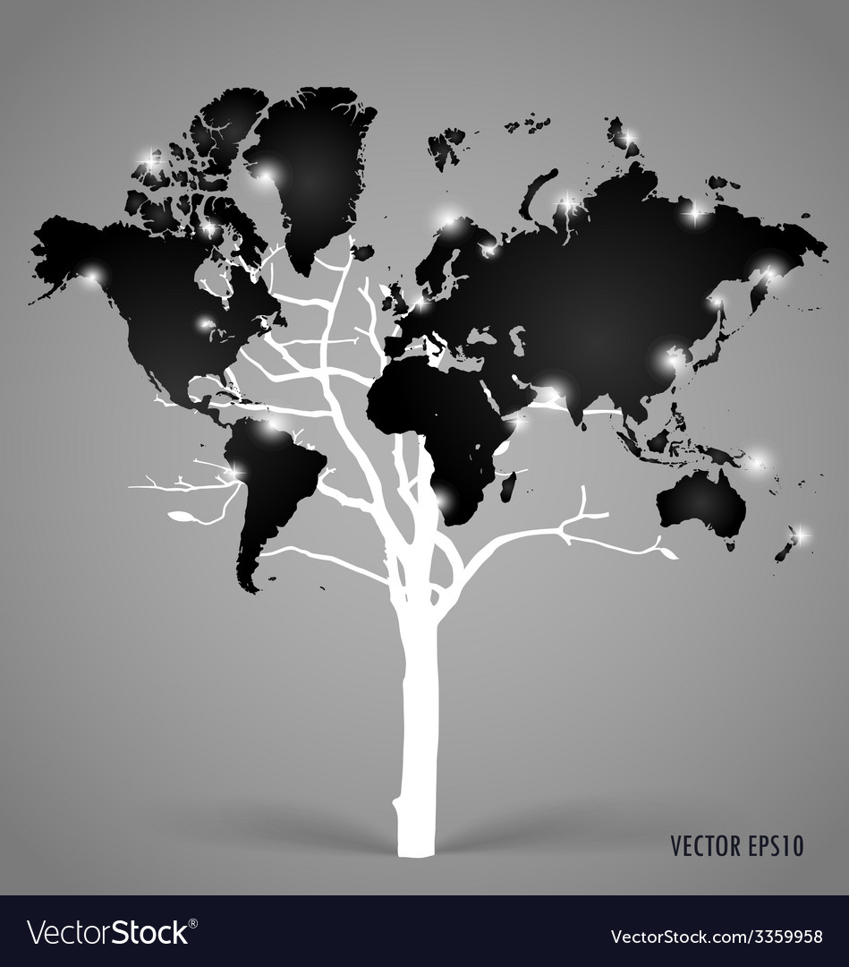 Tree shaped world map vector   Price: 1 Credit (USD $1)
