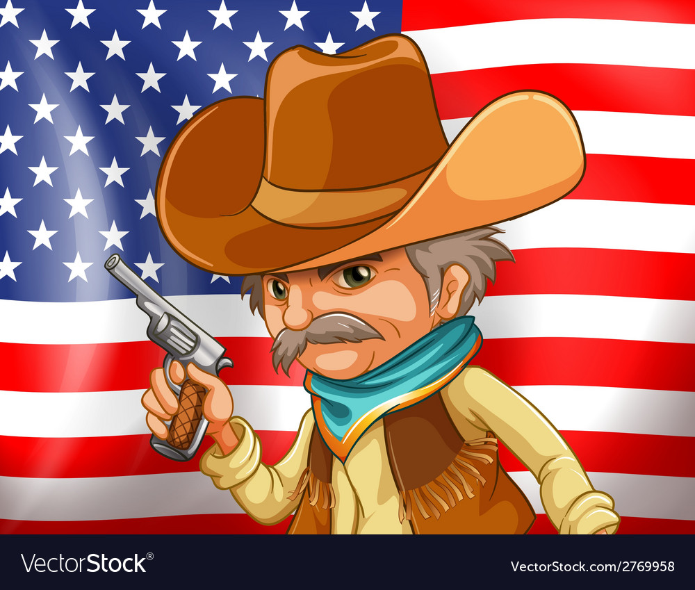 Us flag and cowboy vector | Price: 1 Credit (USD $1)
