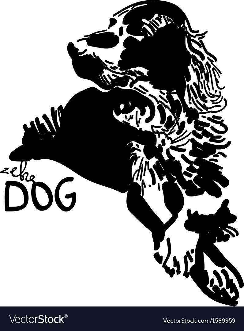 Black and white dog vector   Price: 1 Credit (USD $1)