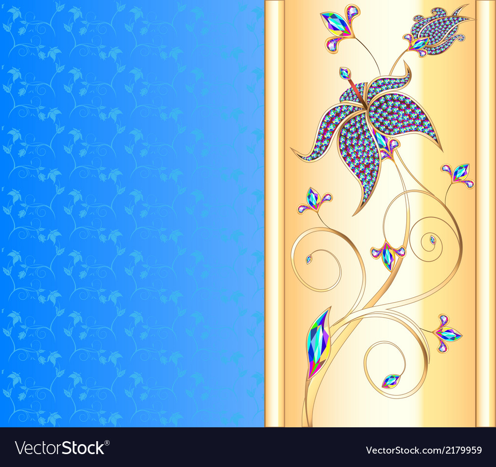 Blue background with the golden flower vector | Price: 1 Credit (USD $1)