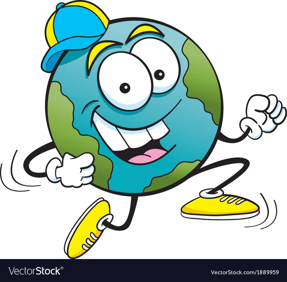 Cartoon earth running vector | Price: 1 Credit (USD $1)