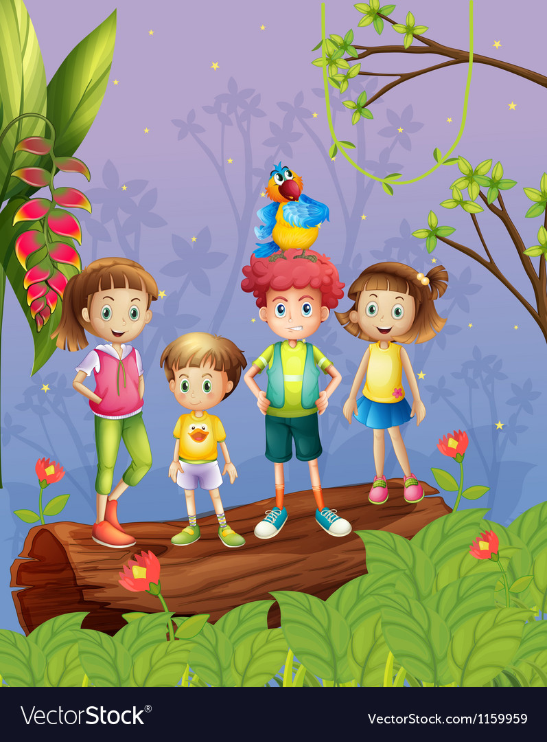 Children with one colorful parrot in the forest vector | Price: 1 Credit (USD $1)