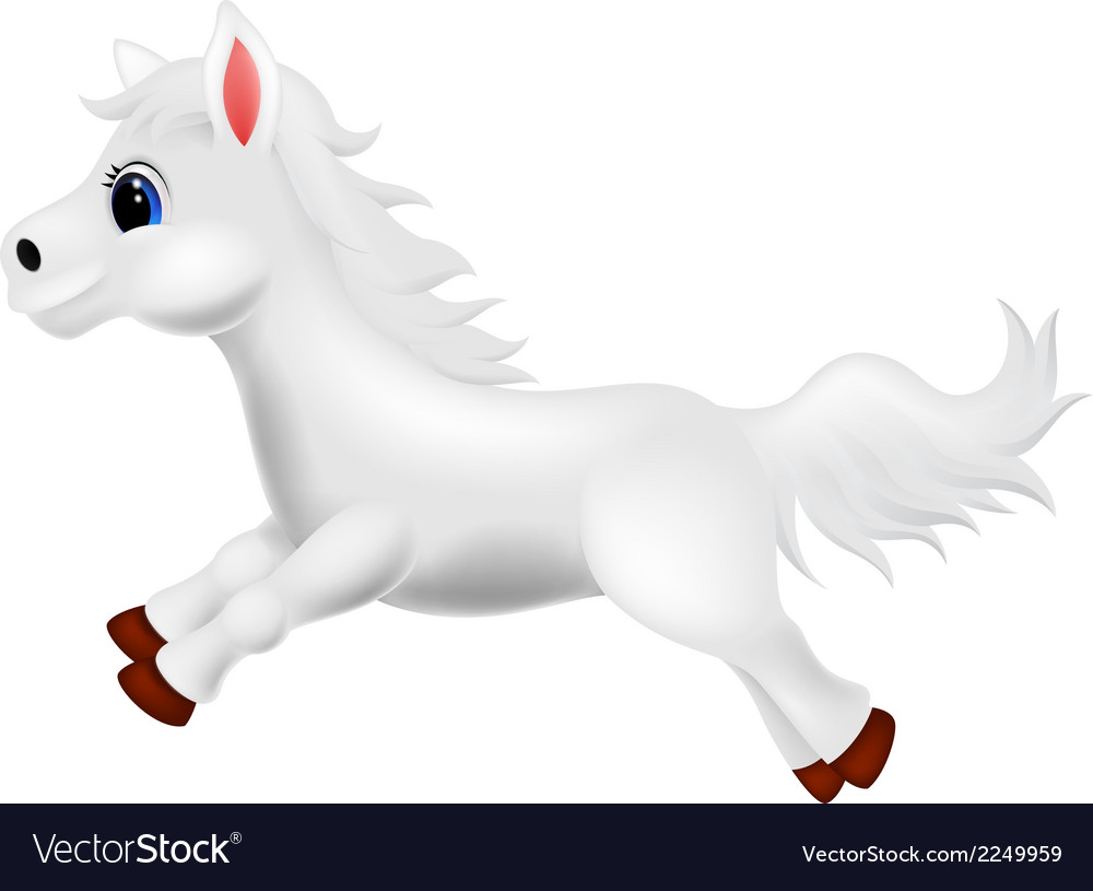 Cute white pony horse cartoon running vector | Price: 1 Credit (USD $1)