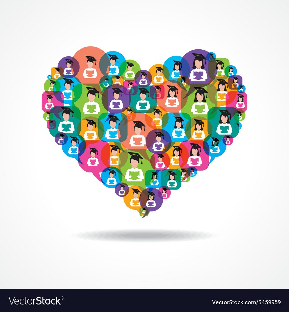 Group of male and female icons make a heart vector | Price: 1 Credit (USD $1)