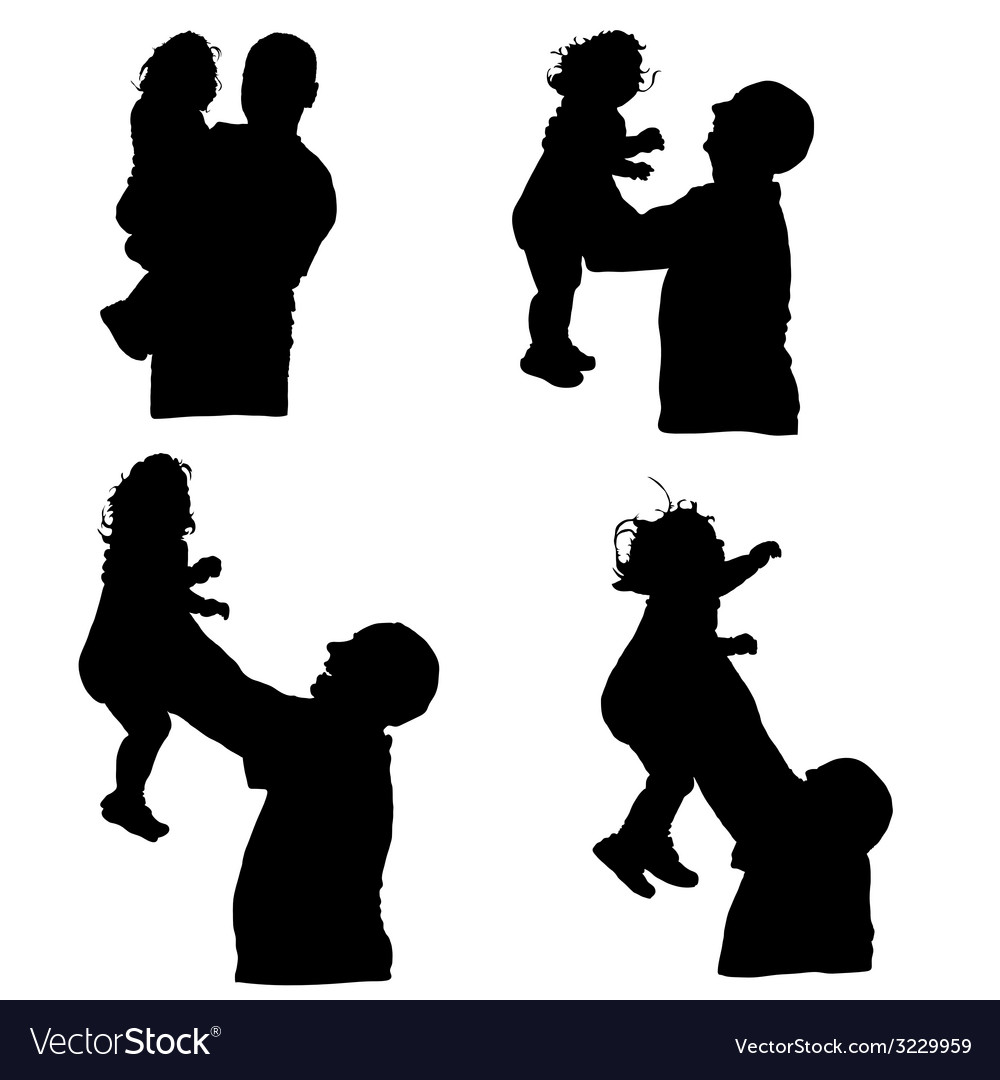 Man throws baby into the air silhouette vector | Price: 1 Credit (USD $1)