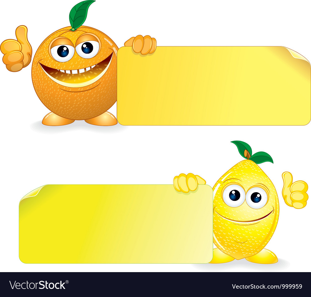 Orange and lemon with sign vector | Price: 1 Credit (USD $1)