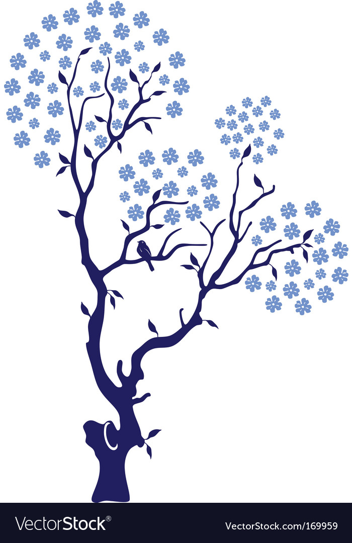 Oriental cherry with birds vector | Price: 1 Credit (USD $1)