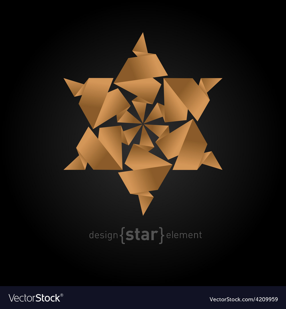 Origami star from old paper on black background vector | Price: 1 Credit (USD $1)