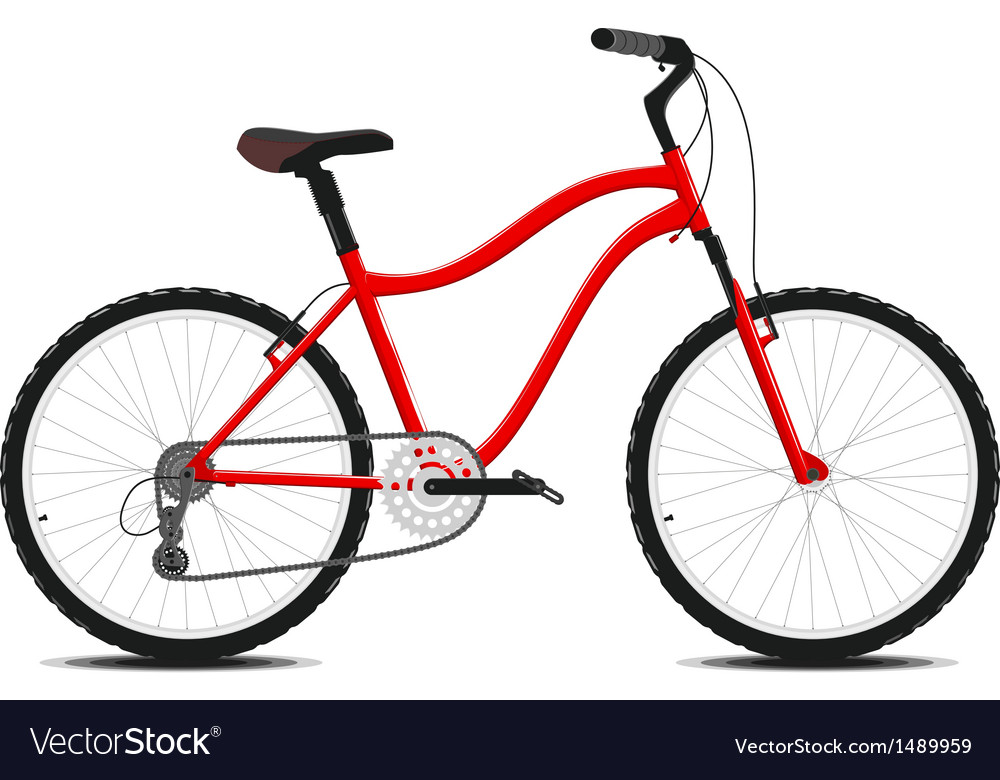 Red bicycle on a white background vector | Price: 1 Credit (USD $1)