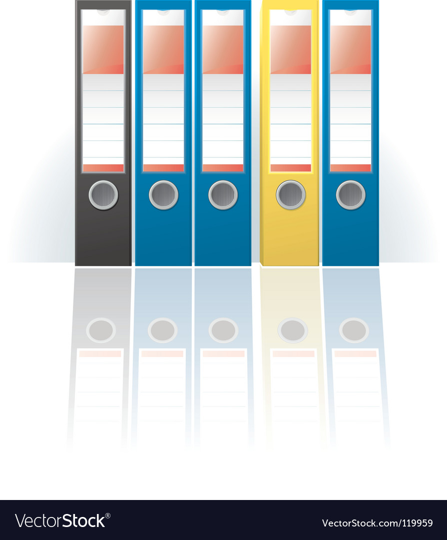 Row of colored ring binders vector | Price: 1 Credit (USD $1)