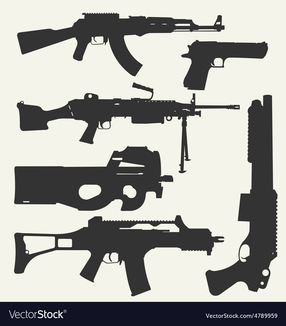 Silhouette of guns vector | Price: 1 Credit (USD $1)