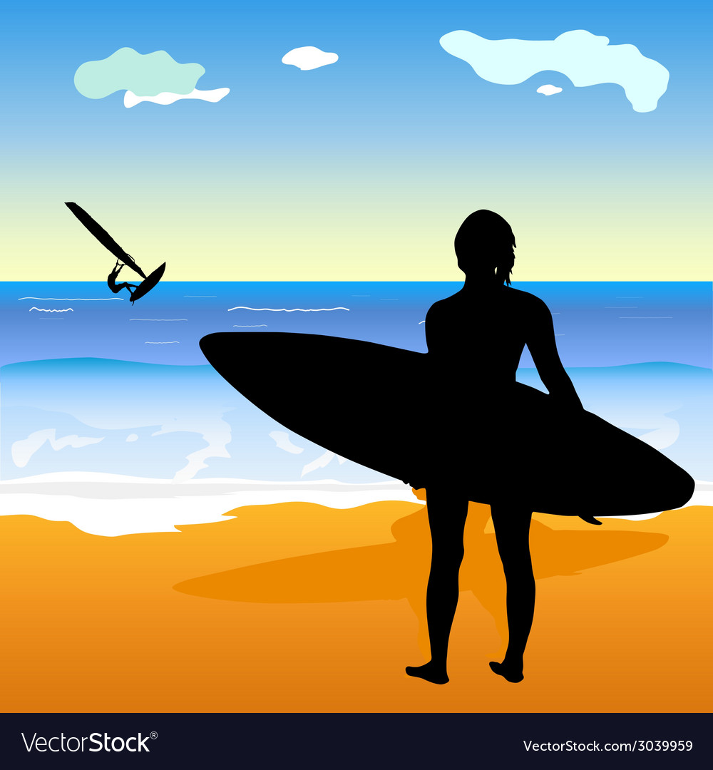 Surfing people and beach vector | Price: 1 Credit (USD $1)