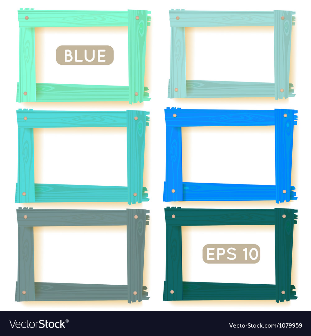 Wooden picture frames blue set vector | Price: 1 Credit (USD $1)