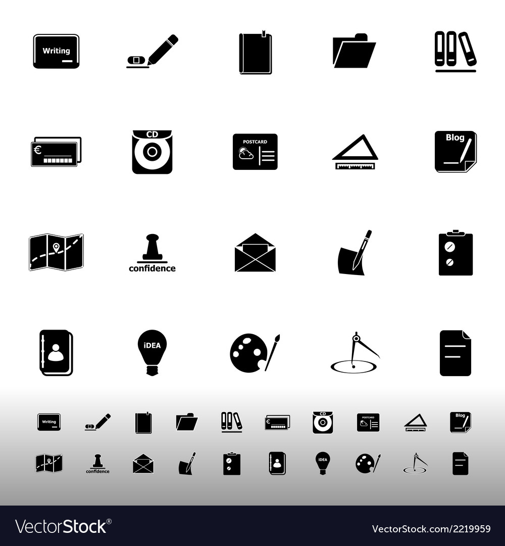 Writing related icons on white background vector | Price: 1 Credit (USD $1)