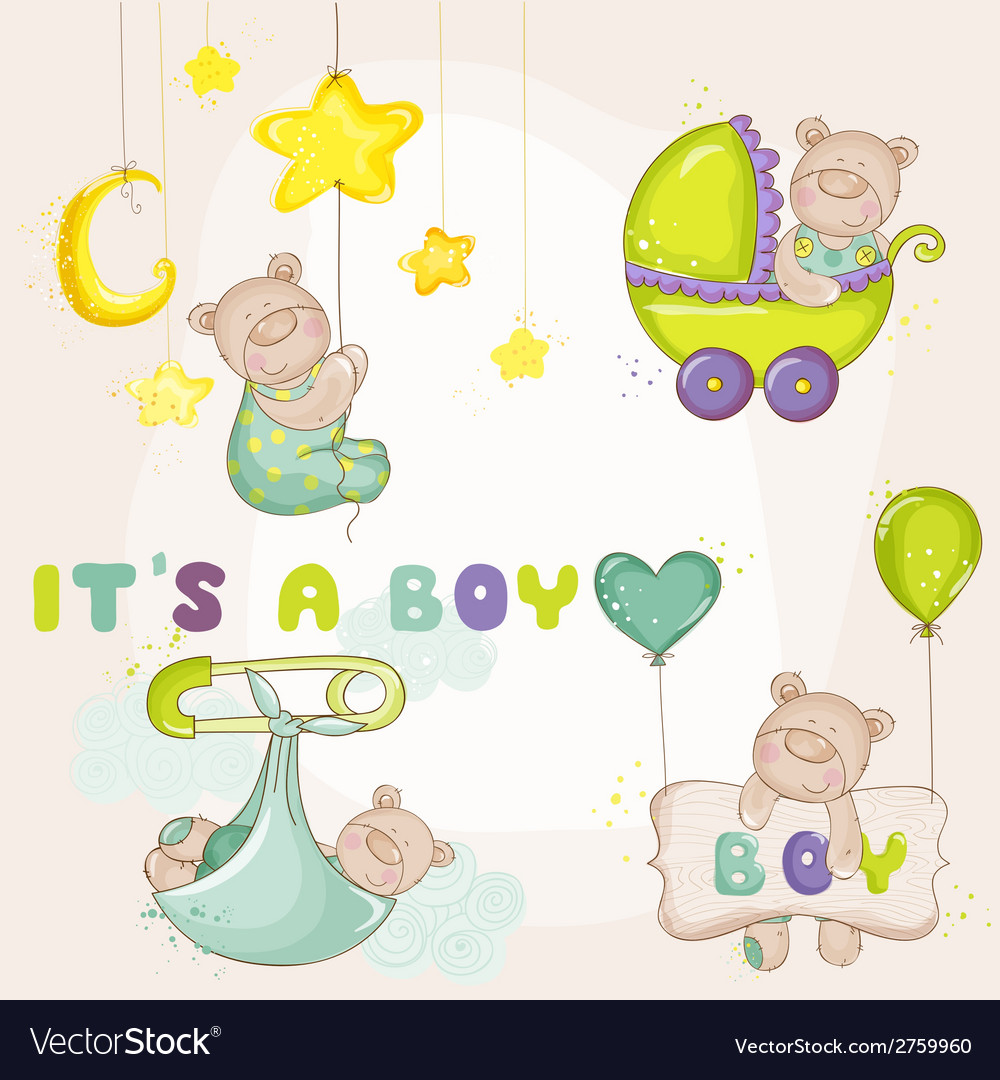 Baby bearset - for baby shower card vector | Price: 3 Credit (USD $3)