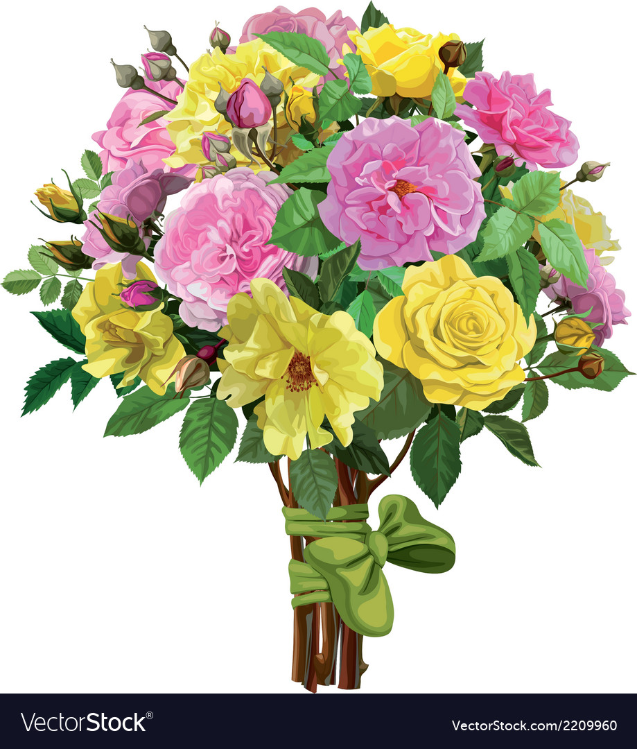 Bouquet of pink and yellow roses vector | Price: 1 Credit (USD $1)