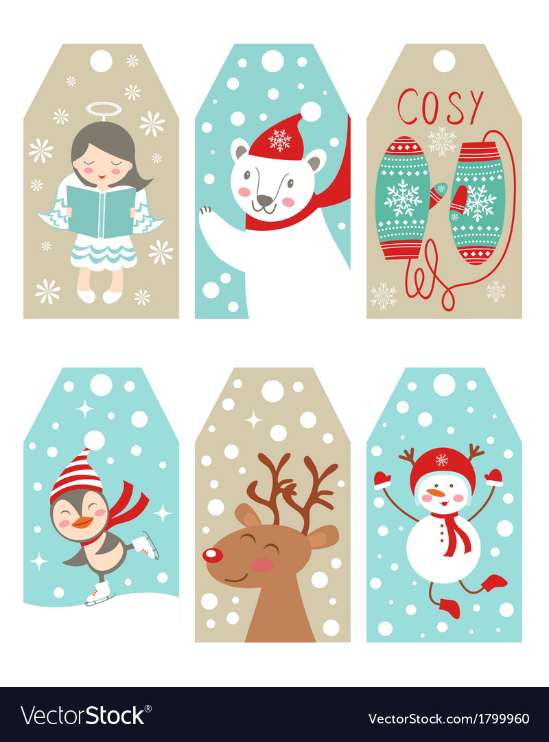 Christmas and new year gift tags vector | Price: 1 Credit (USD $1)