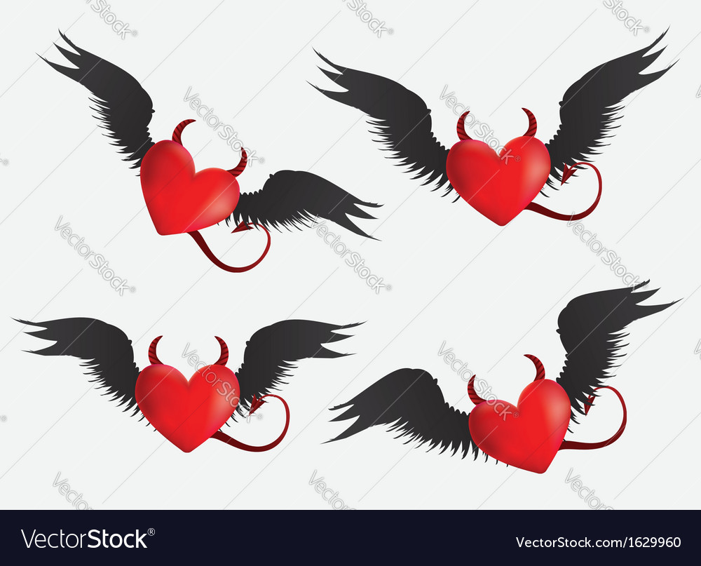 Devil hearts set vector | Price: 1 Credit (USD $1)