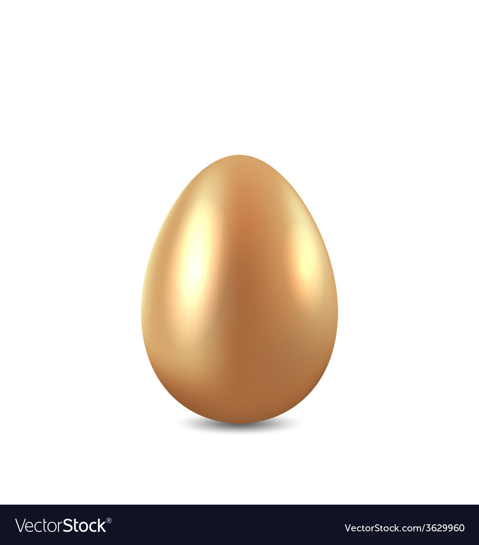 Easter golden egg isolated on white background vector | Price: 1 Credit (USD $1)