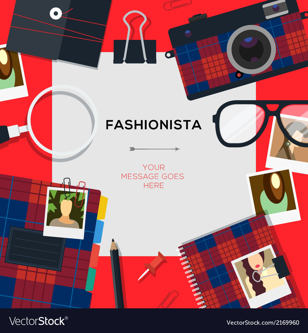Fashionista template with accessories vector | Price: 1 Credit (USD $1)