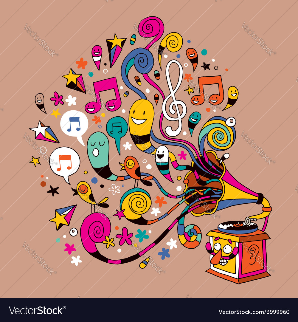Fun gramophone cartoon vector | Price: 1 Credit (USD $1)