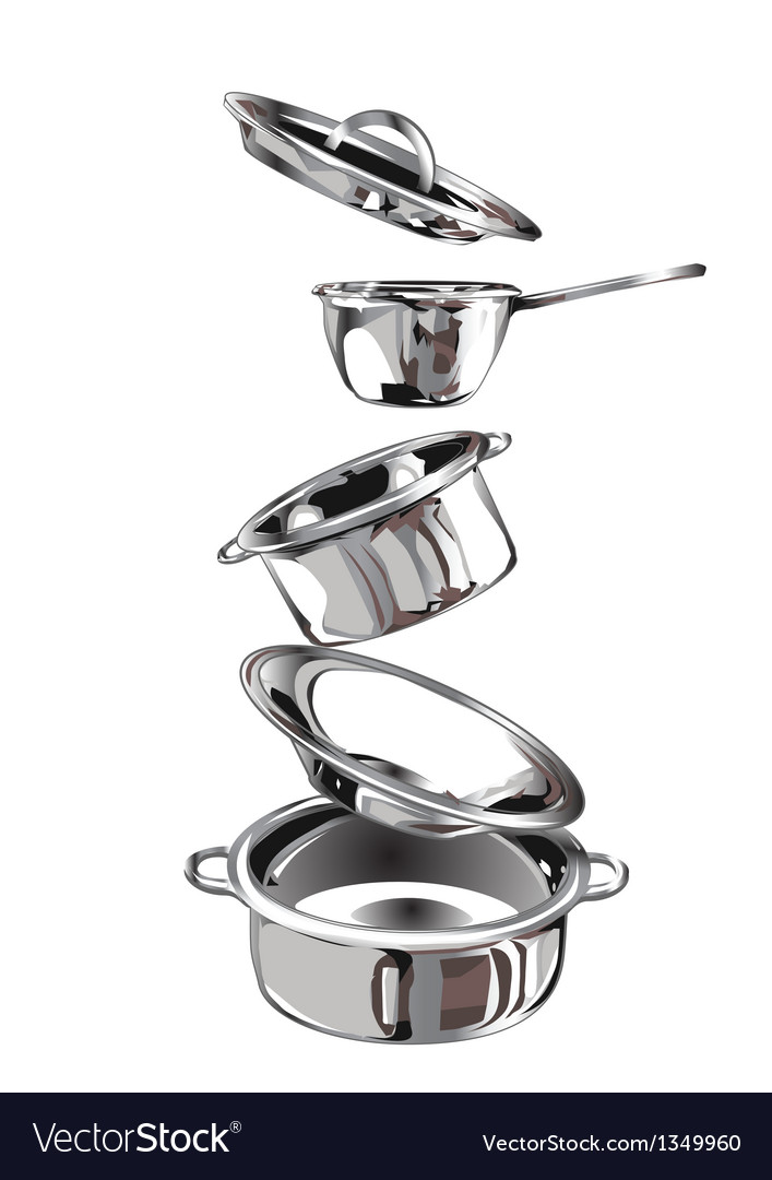 Group of stainless steel kitchenware vector | Price: 1 Credit (USD $1)